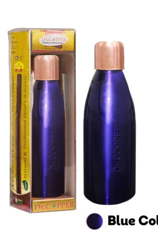 Dr. Copper Water Bottle– 500 ml Printed Blue Colour 100% Pure Copper. Perfect choice for children, elderly and fitness lovers.
