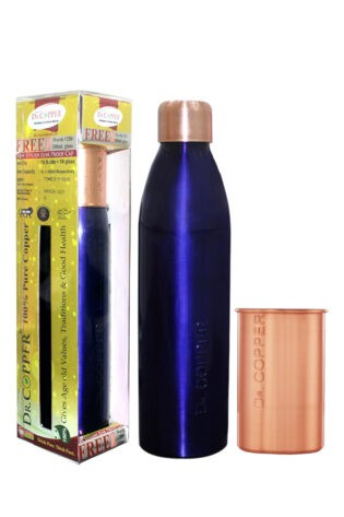 Dr. Copper Combo Pack – Leak Proof Cap 1000 ml Blue Bottle with 300 ml Copper Glass Free for Drinking Water- 100% Pure Copper.