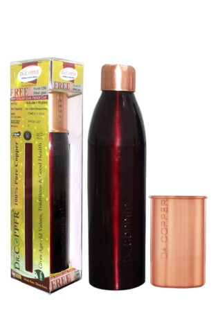 Dr. Copper Combo Pack – Leak Proof 1000 ml Maroon Bottle with 300 ml Copper Glass Free for Drinking Water – 100% Pure Copper.