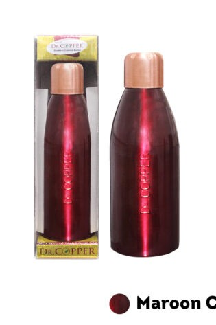 Dr. Copper Water Bottle – 500 ml Printed Red Colour 100% Pure Copper. Perfect choice for children, elderly and fitness lovers.