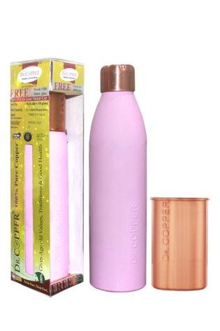 Dr. Copper Combo Pack – Leak Proof Cap 1000 ml Pink Bottle with 300 ml Copper Glass Free for Drinking Water- 100% Pure Copper.
