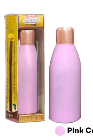 Dr. Copper Water Bottle – 500 ml Printed Pink Colour 100% Pure Copper. Perfect choice for children elderly and fitness lovers.