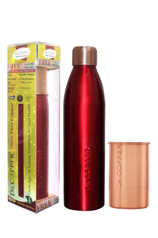 Dr. Copper Combo Pack – Leak Proof Cap 1000 ml Red Bottle with 300 ml Copper Glass Free for Drinking Water – 100% Pure Copper.