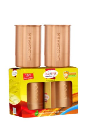 Dr. Copper Set of 2 Glasses– A Set of 2 Copper Glasses 300 ml each for Drinking Water- Made of 100% Pure Copper by Dr. Copper.