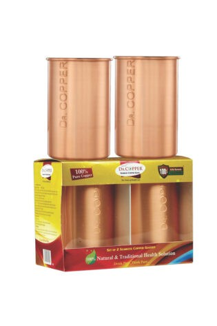 Dr. Copper Set of 2 Glasses– A Set of 2 Copper Glasses 500 ml each for Drinking Water- Made of 100% Pure Copper by Dr. Copper.