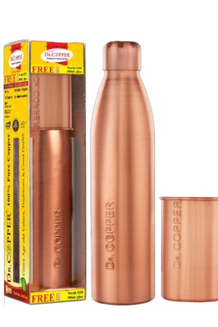 Dr. Copper Combo Pack– Leak Proof Cap 1000 ml Water Bottle with 300 ml Copper Glass Free for Drinking Water- 100% Pure Copper.