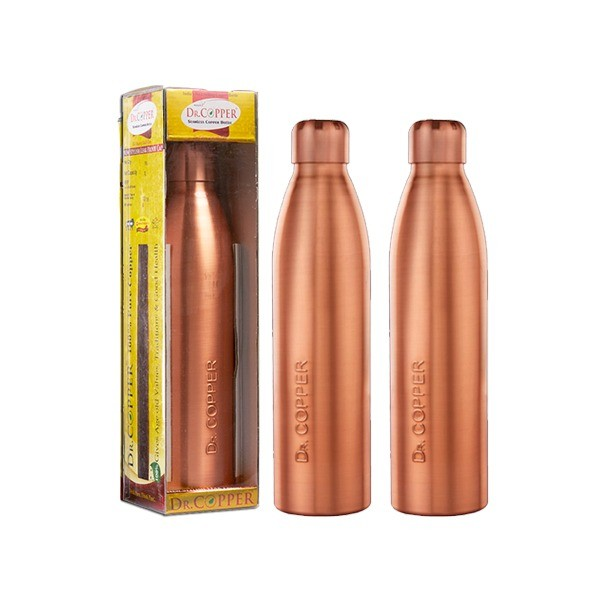 Dr. Copper Water Bottle 1000ml – Set of 2,   100% Pure Copper(Cu). Perfect choice for children, elderly and fitness lovers.