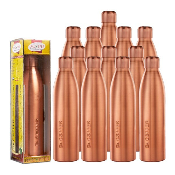 Dr. Copper Worlds First Seamless Copper Bottle with Leak Proof New Cap Asia's Greatest Brand Award Winner Product, Best Product Ever,Exclusive Pack 1000 ml Set of 12