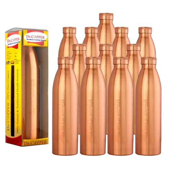 Dr. Copper World's First Seam Less Copper Water Bottle,1 LTR, Set of 12