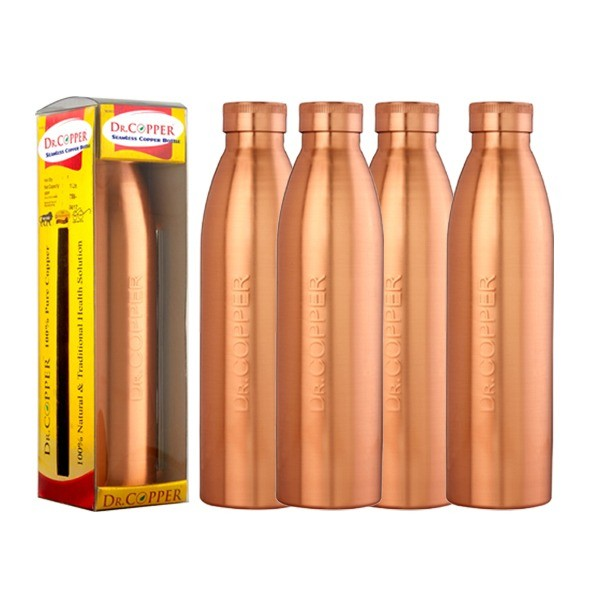 Dr. Copper World'S First Seam Less Copper Water Bottle,1 Ltr Set Of 4