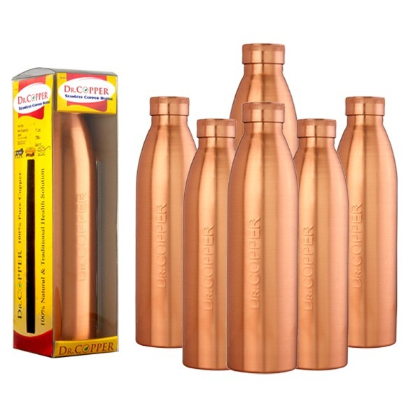 Dr. Copper World's First Seam Less Copper Water Bottle,Copper Water Bottles 1 Litre Set of 6 1000 ml Combo Pack